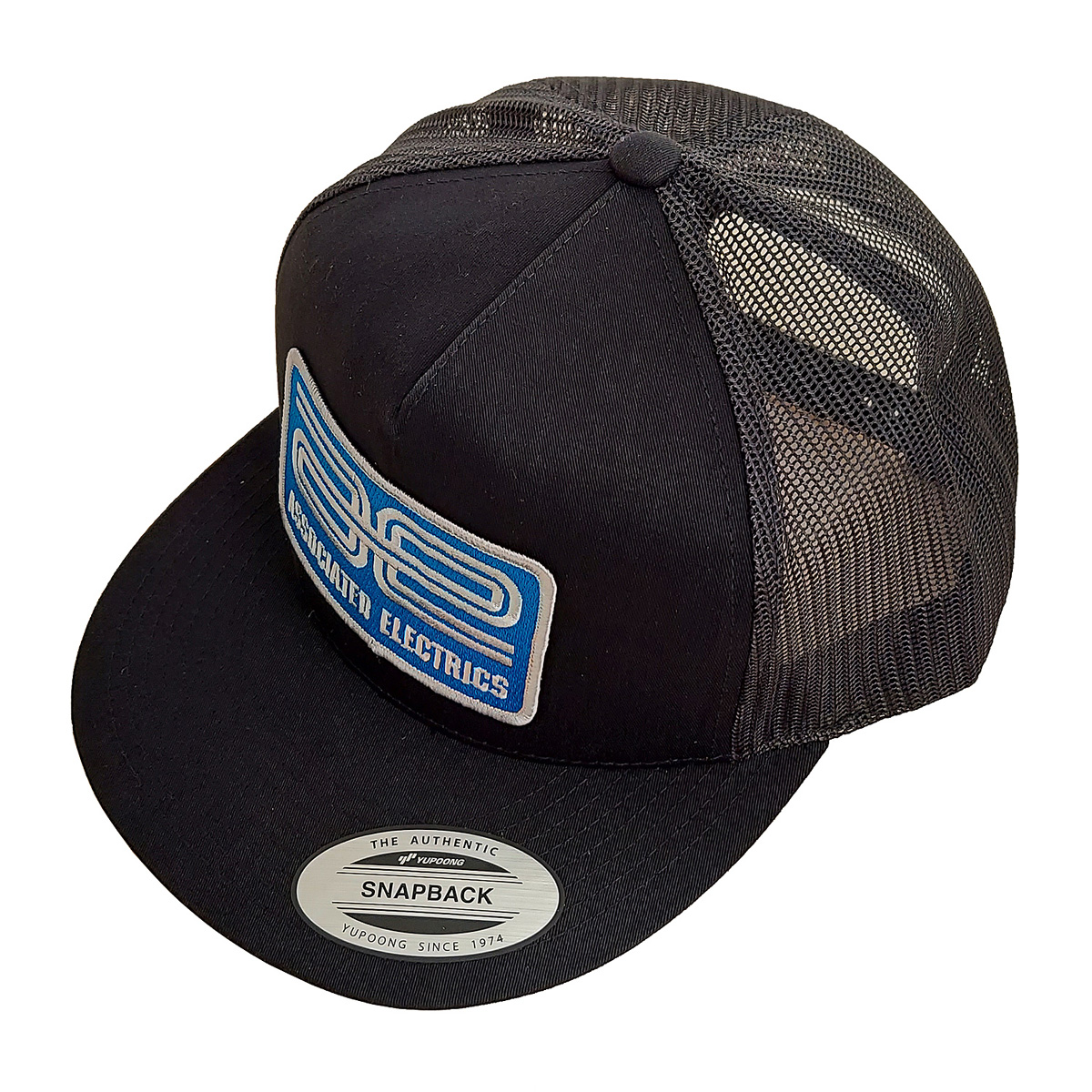 AE Logo Trucker Hat, Flat Bill Black