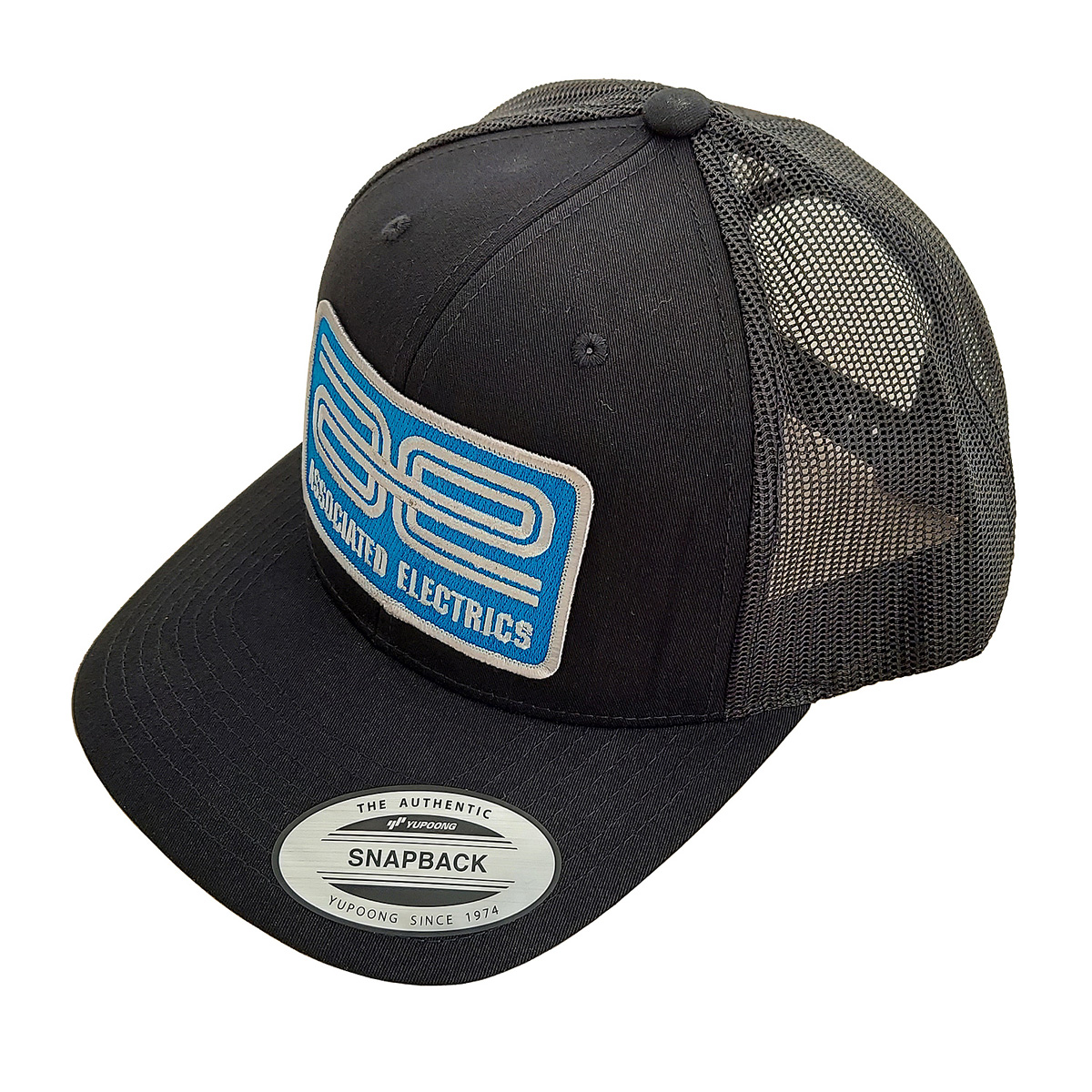 AE Logo Trucker Hat, Curved Bill, Black