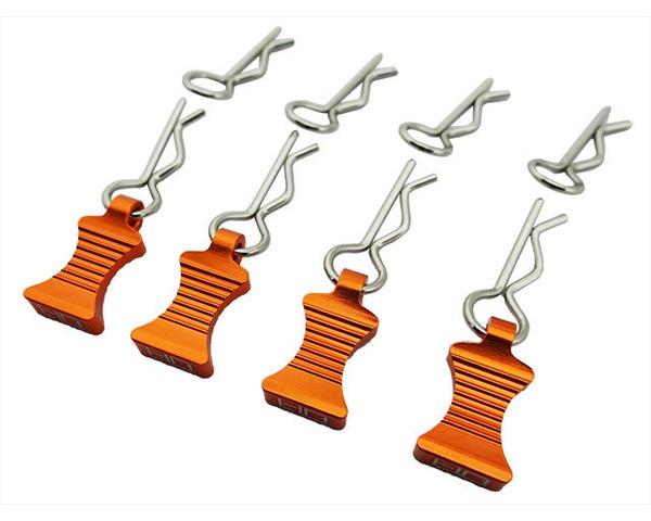 1/10 Orange Alum EZ Pulls 4 Body Clips 8