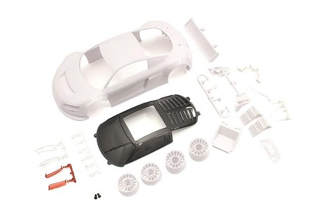 Audi R8LMS Night-R White Body Set w/ Wheels