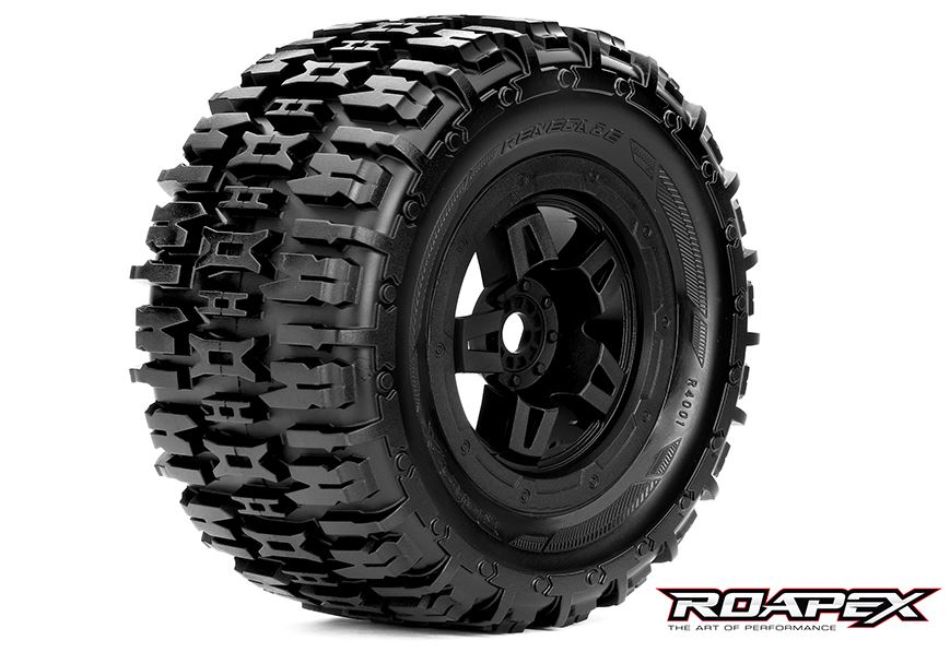 Renegade 1/8 Monster Truck Tire Black Wheel with 17mm Hex ROPR4001-B