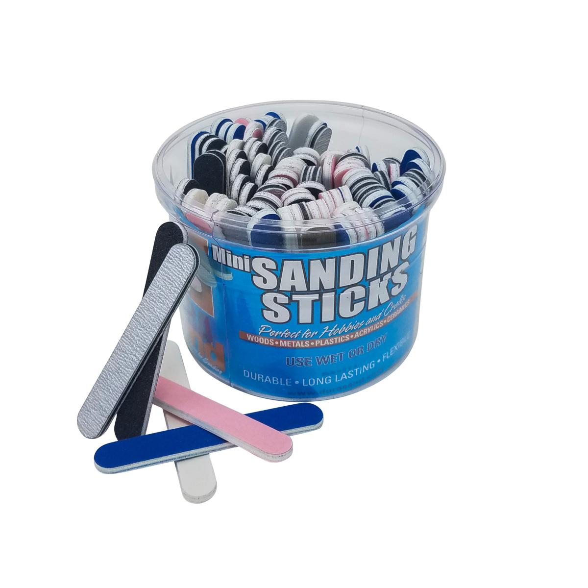 Mini Sanding Sticks, 100 Piece Bucket, Assorted Grits &